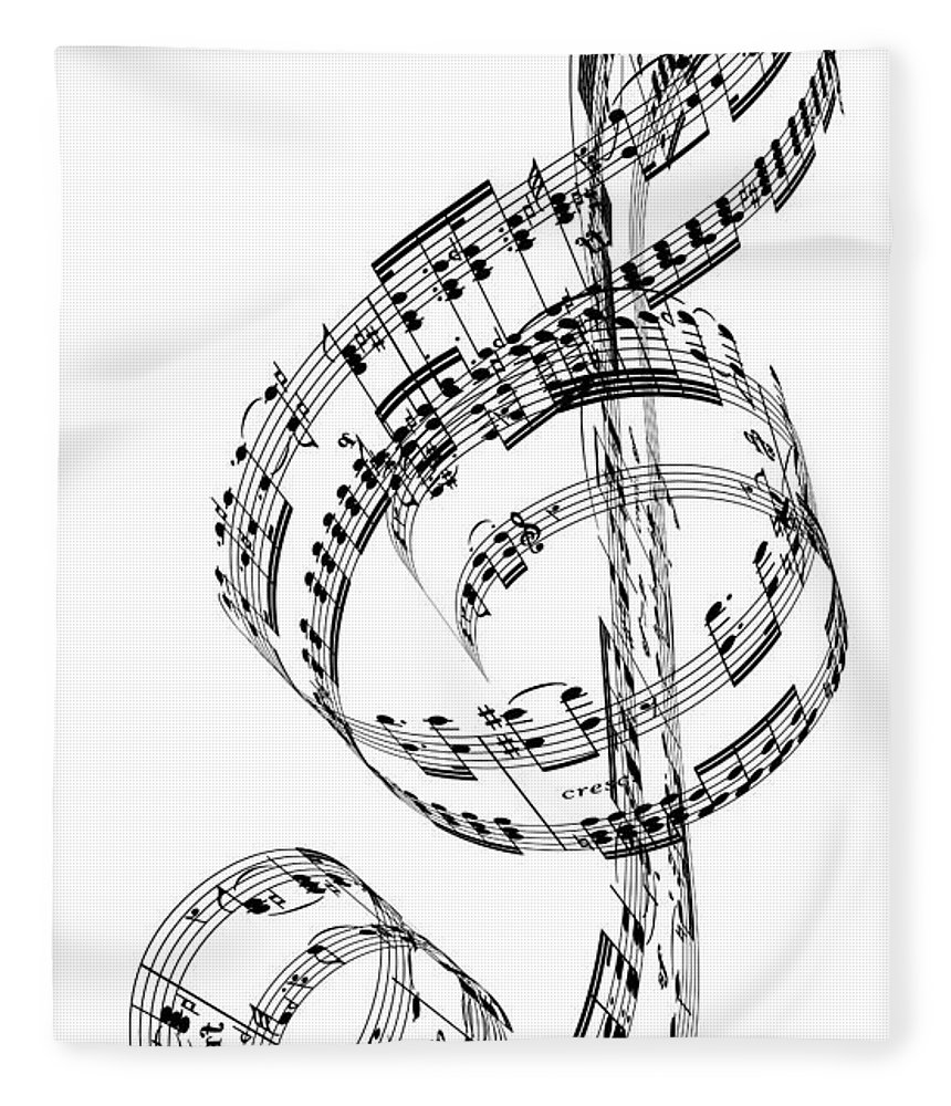 Sheet Music Fleece Blanket featuring the digital art A Treble Clef Made From Beethovens by Ian Mckinnell