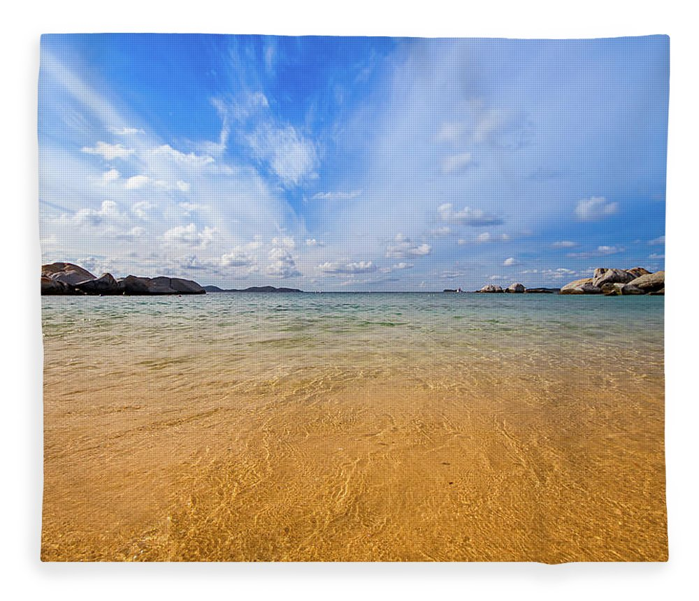 Tranquility Fleece Blanket featuring the photograph A View Of The Caribbean Sea From The by Lotus Carroll