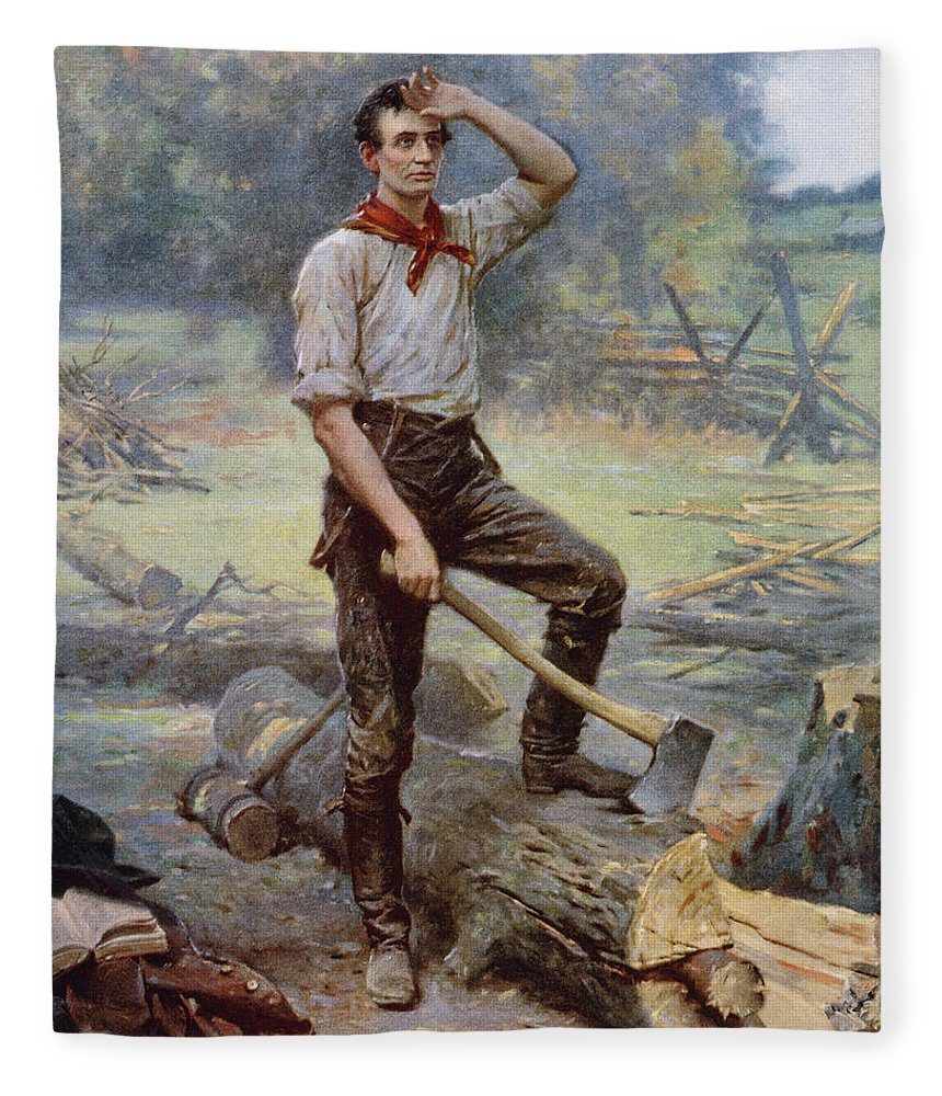 Abraham Lincoln Fleece Blanket featuring the painting Abe Lincoln The Rail Splitter by War Is Hell Store