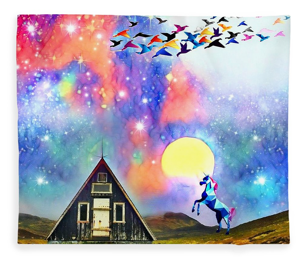 Fleece Blanket featuring the digital art Abode of the Artificial-Dreamer Zero by Sureyya Dipsar