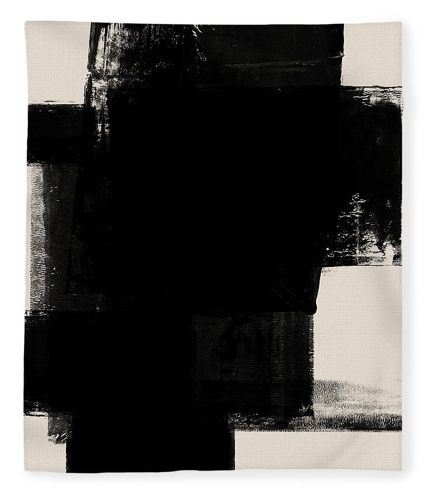 Black And White Fleece Blanket featuring the mixed media Abstract Black And White No.1 by Naxart Studio