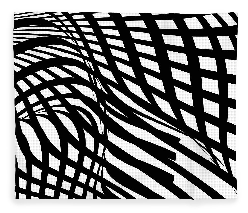 Curve Fleece Blanket featuring the digital art Abstract Black And White Stripe Shape by Shuoshu