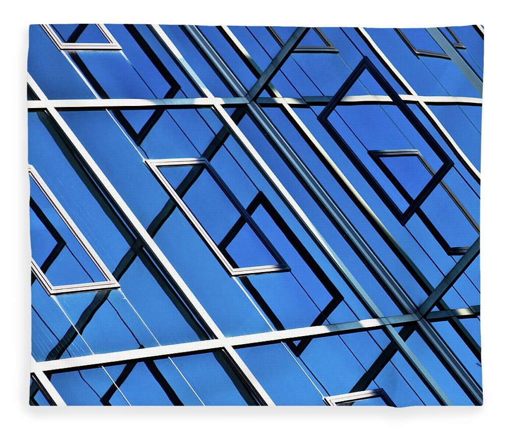 Outdoors Fleece Blanket featuring the photograph Abstract Geometric Reflection by By Fabrice Geslin