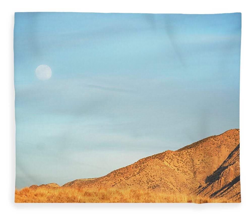 Scenics Fleece Blanket featuring the photograph Abstract Landscape Mountain Moon by Amygdala imagery
