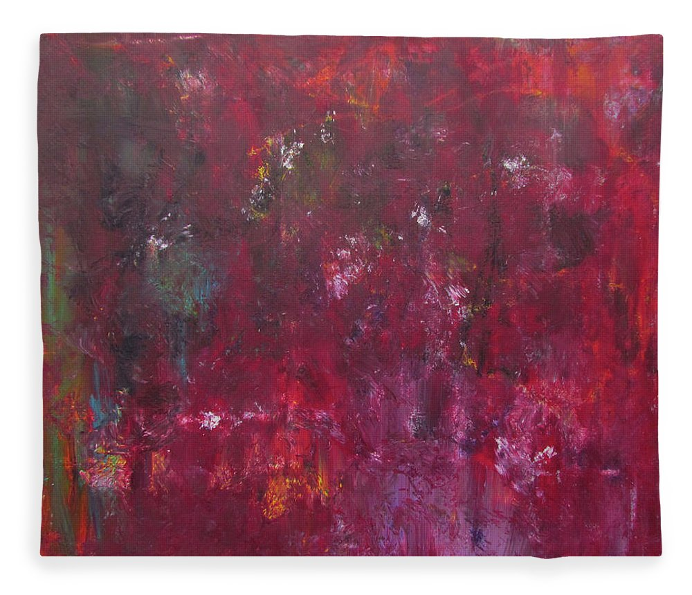 Rust Red Fleece Blanket featuring the painting Abstract Painting Rust Red by Patricia Piotrak
