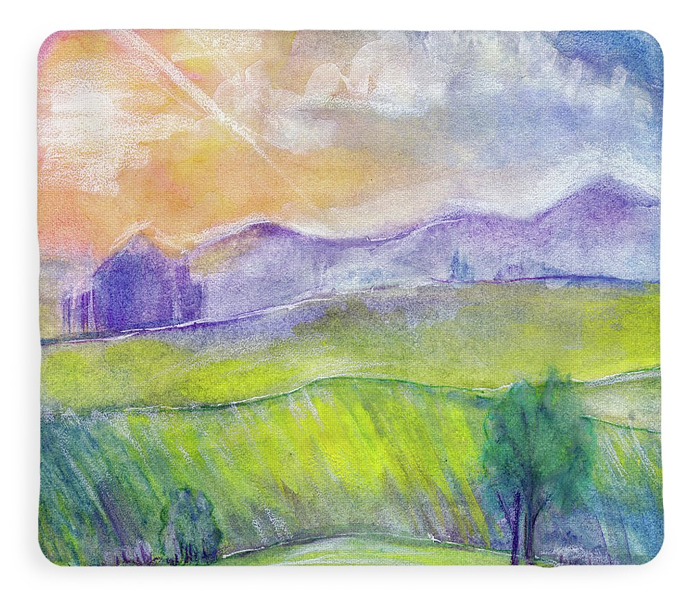 Abstract Watercolor Landscape With Sunset Hills And Fields Fleece Blanket For Sale By Elena Sysoeva