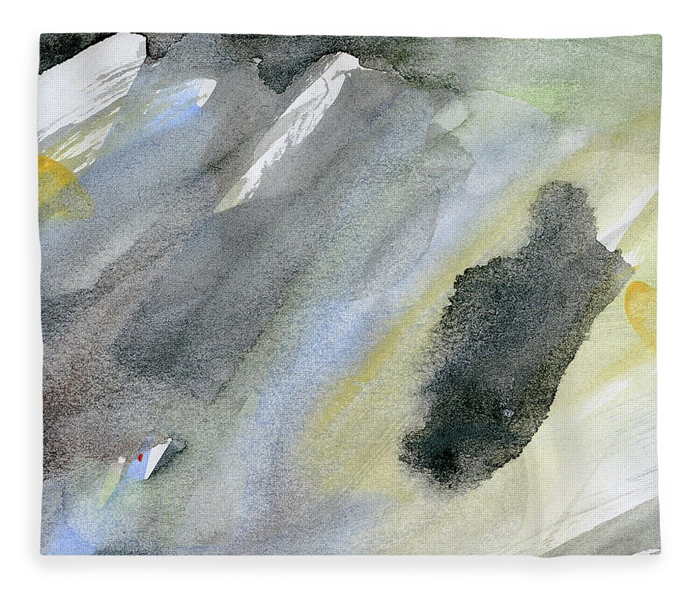 Gouache Fleece Blanket featuring the digital art Abstract Watercolor Painted by Petekarici