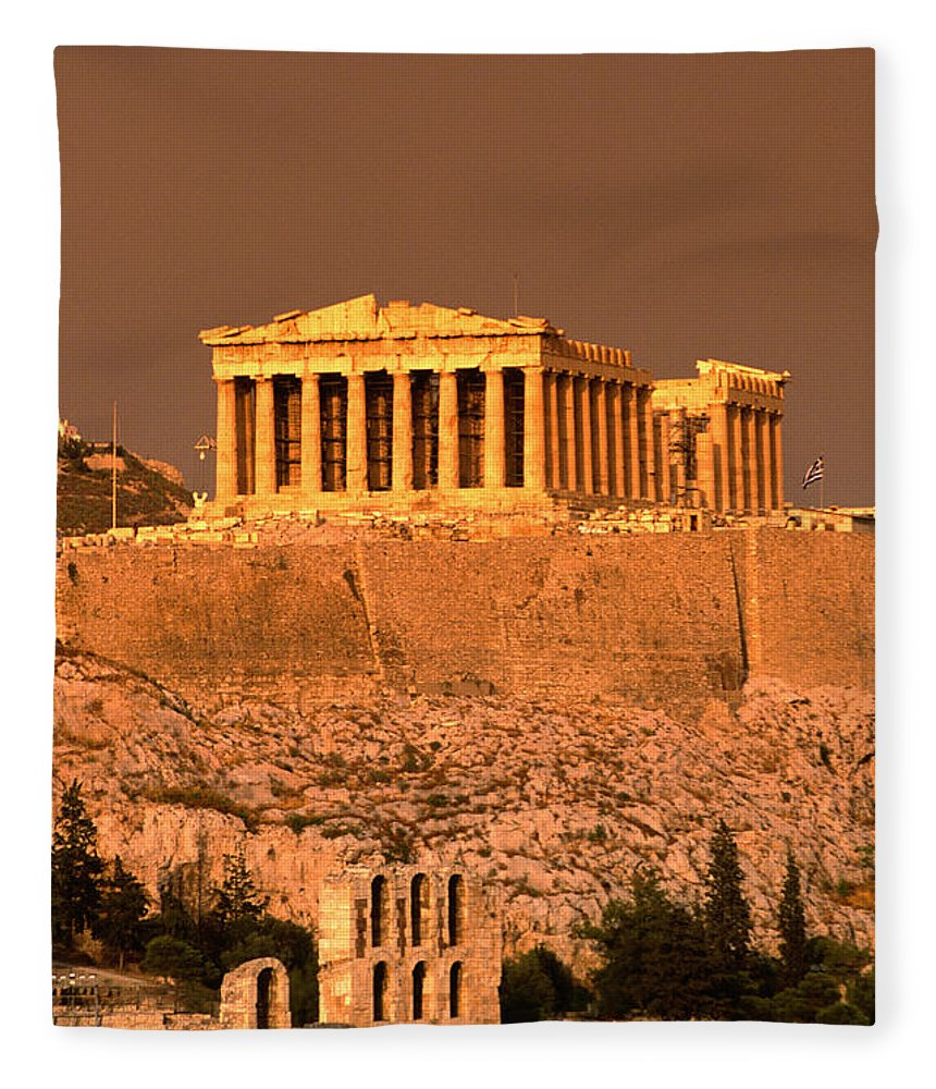 Greek Culture Fleece Blanket featuring the photograph Acropolis And Parthenon From Filopappou by Lonely Planet