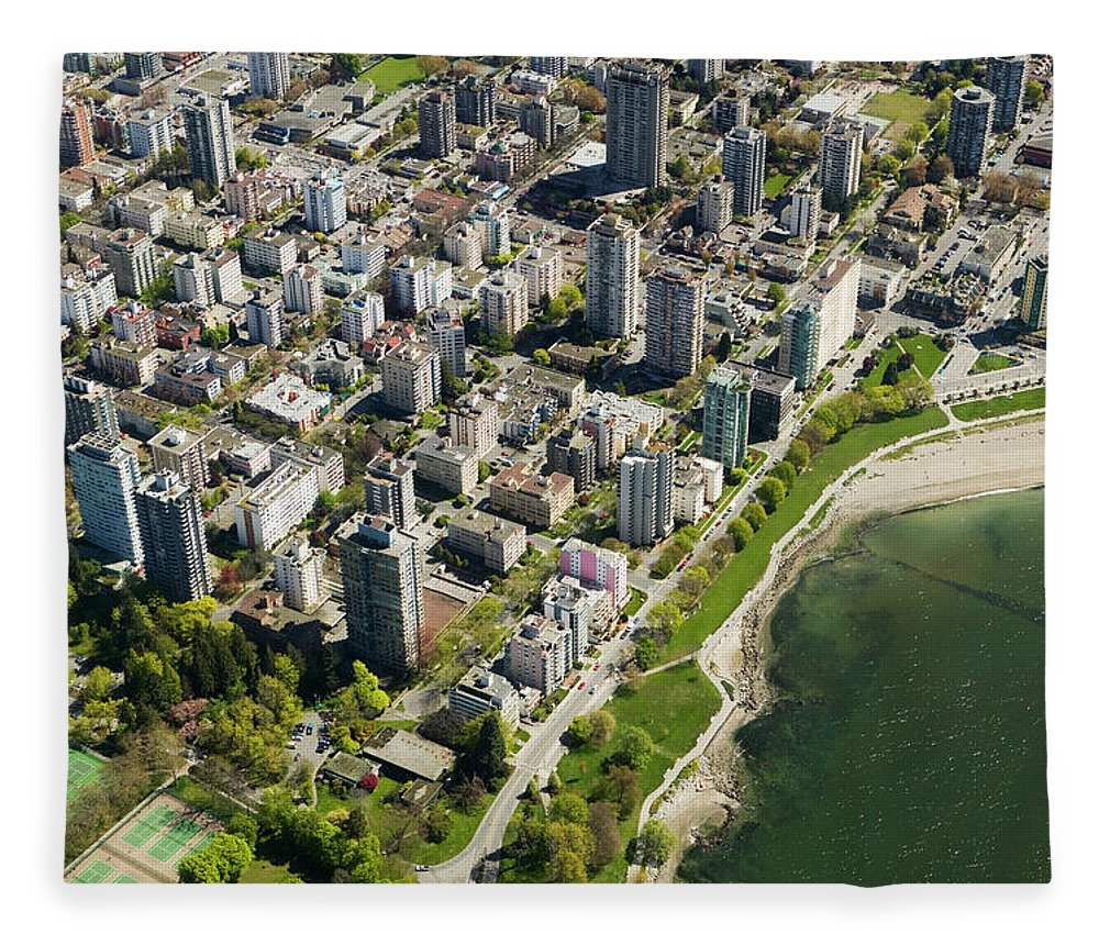 Outdoors Fleece Blanket featuring the photograph Aerial Of West End, Vancouver by Lucidio Studio, Inc.