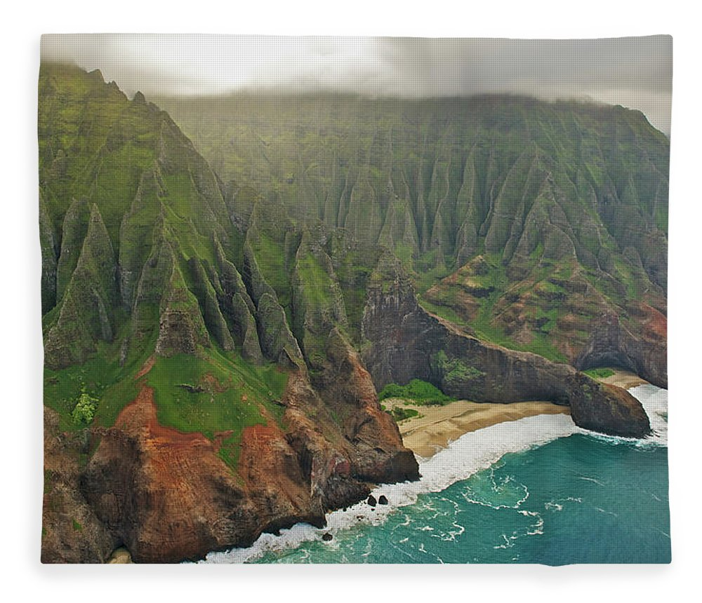 Awe Fleece Blanket featuring the photograph Aerial View Of Na Pali Coast, Kauai by Enrique R. Aguirre Aves