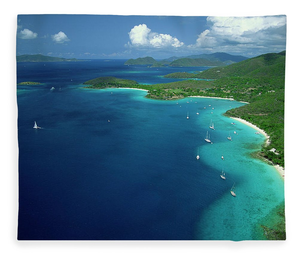 Sailboat Fleece Blanket featuring the photograph Aerial View Of Shoreline by Don Hebert