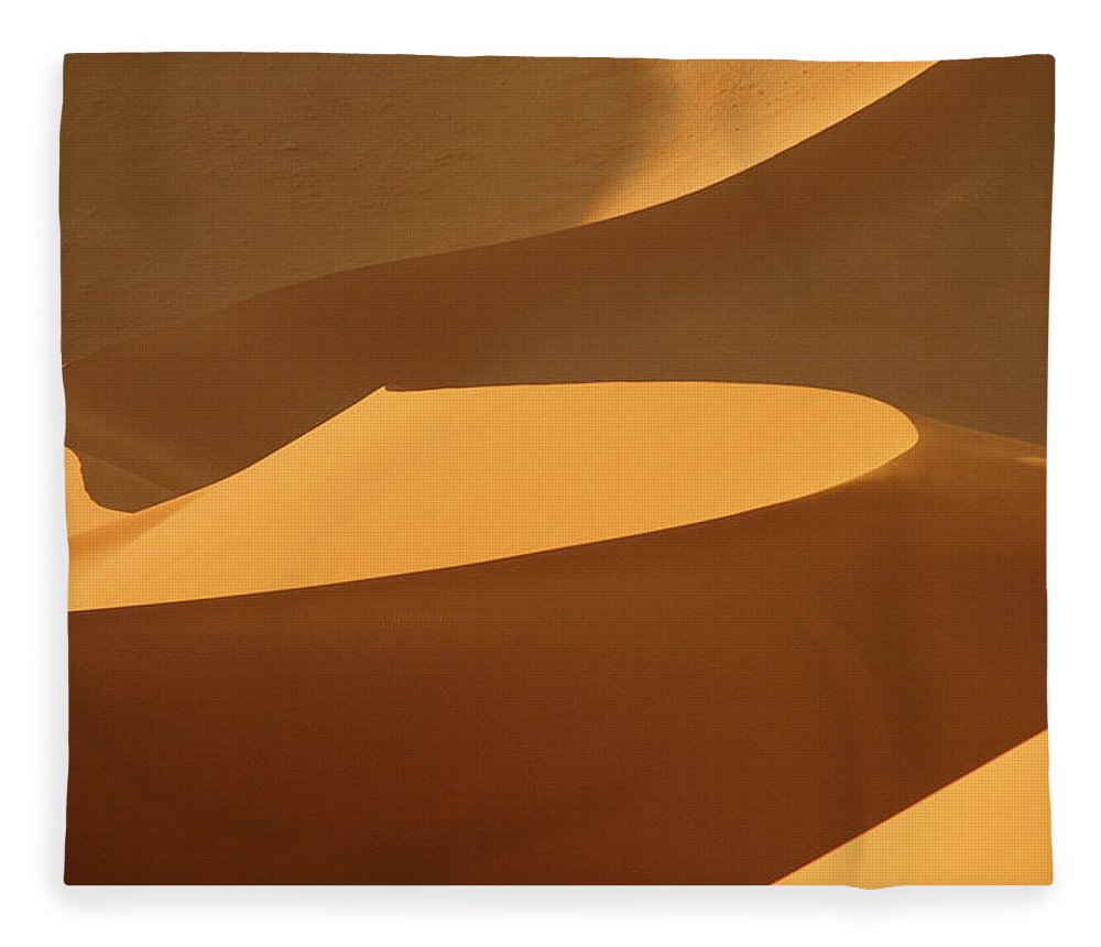 Shadow Fleece Blanket featuring the photograph Africa, Namibia, Sand Dunes, Full Frame by Peter Adams