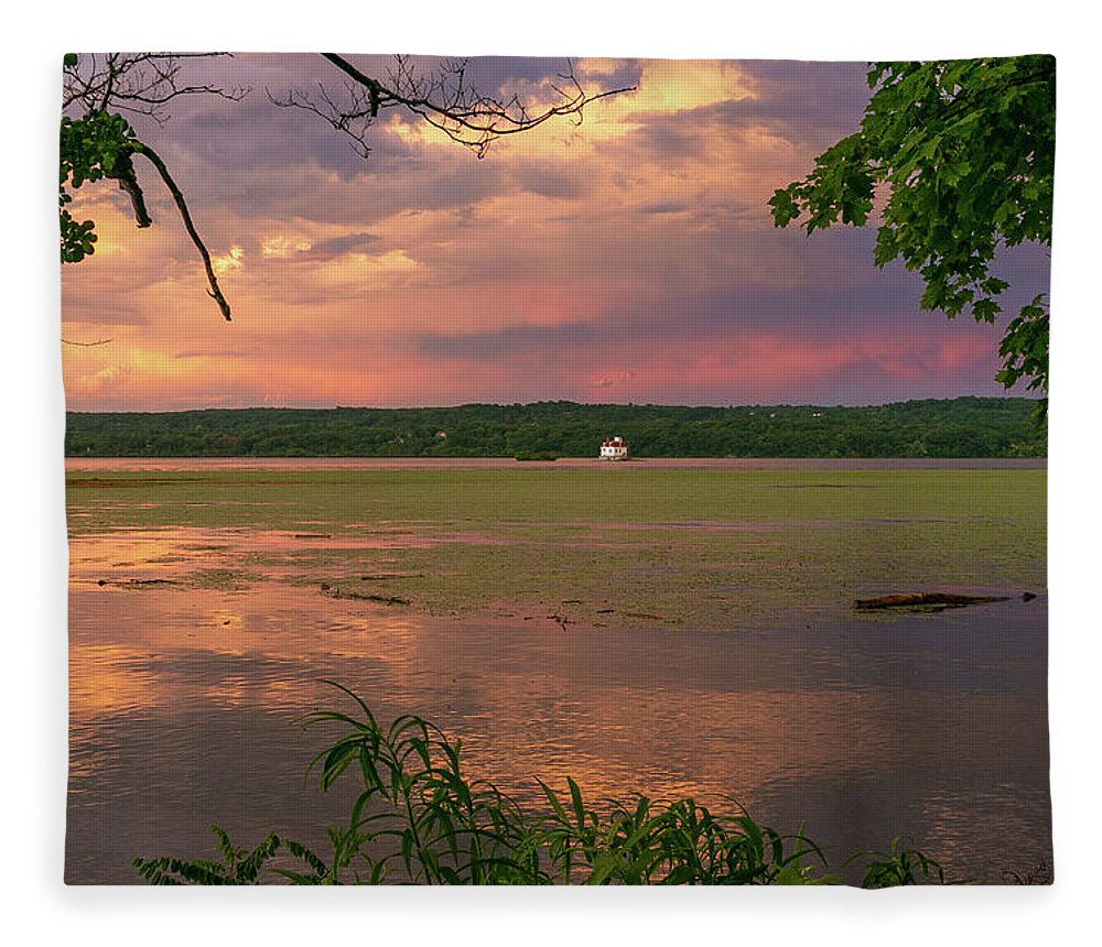 Esopus Lighthouse Fleece Blanket featuring the photograph After A June Thunderstorm II by Jeff Severson
