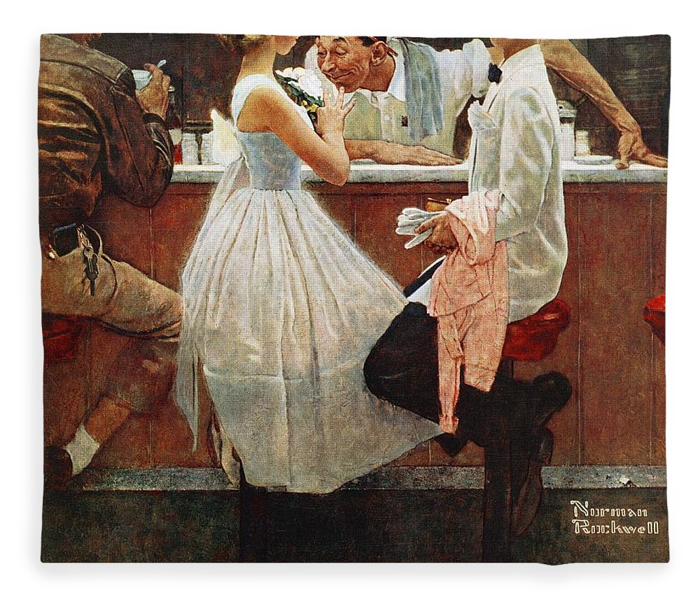 Corsage Fleece Blanket featuring the drawing After The Prom by Norman Rockwell