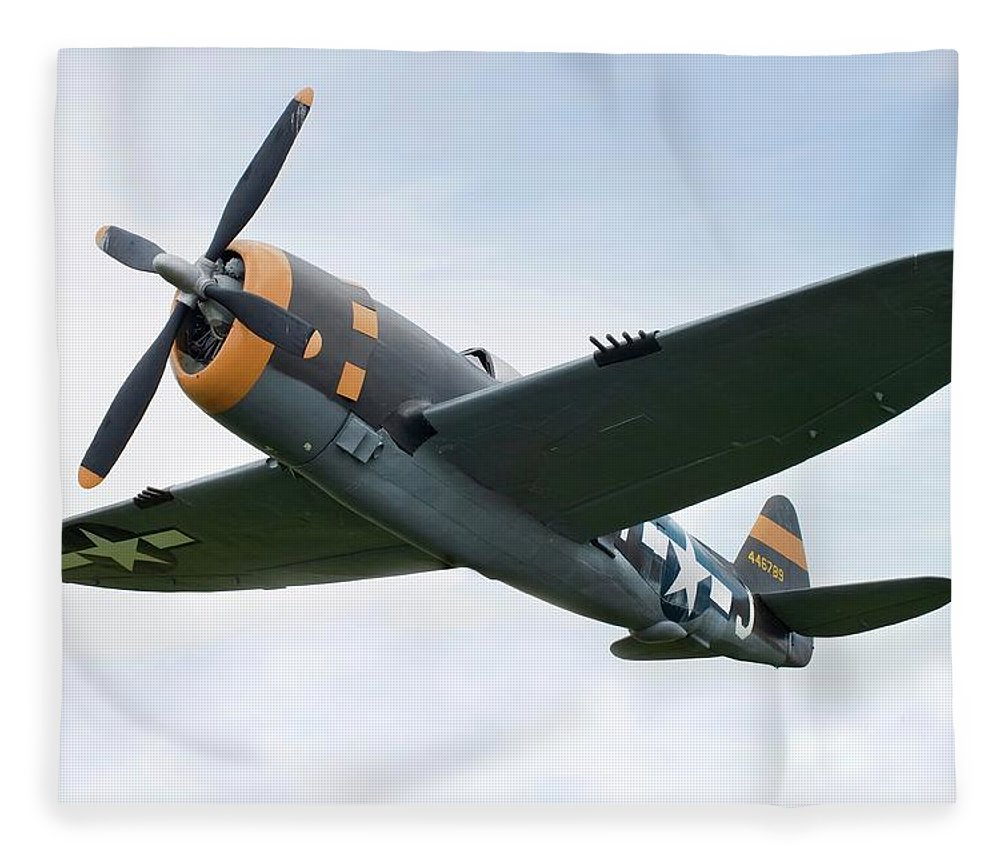 Air Attack Fleece Blanket featuring the photograph Airplane P-47 Thunderbolt From World by Okrad