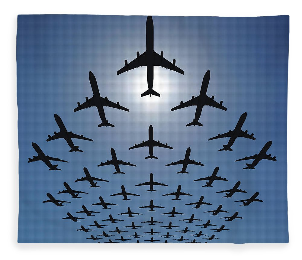 Expertise Fleece Blanket featuring the photograph Airplane Silhouettes Fly In V Formation by Georgo