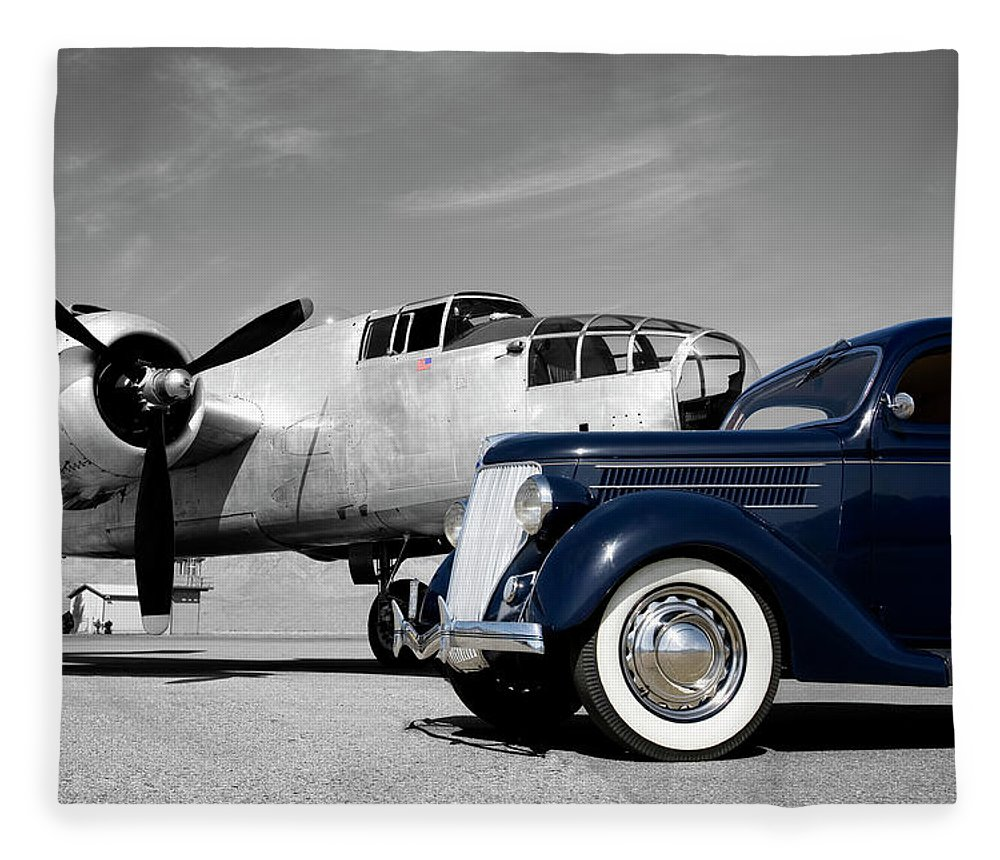 Propeller Fleece Blanket featuring the photograph Airplanes And Cars by Sierrarat
