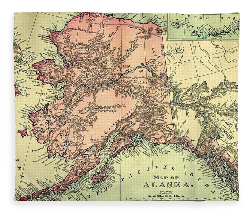 Engraving Fleece Blanket featuring the digital art Alaska Old Map by Nicoolay