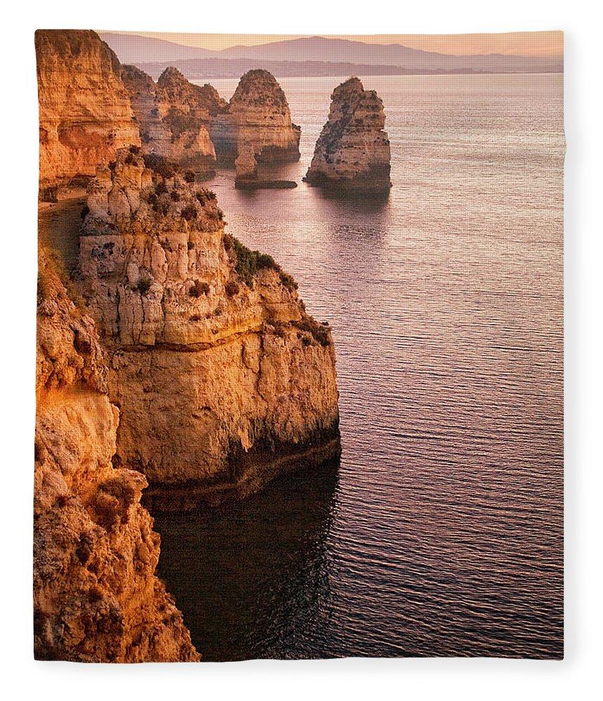 Algarve Fleece Blanket featuring the photograph Algarve Coastline, Lagos, Portugal by Zu Sanchez Photography