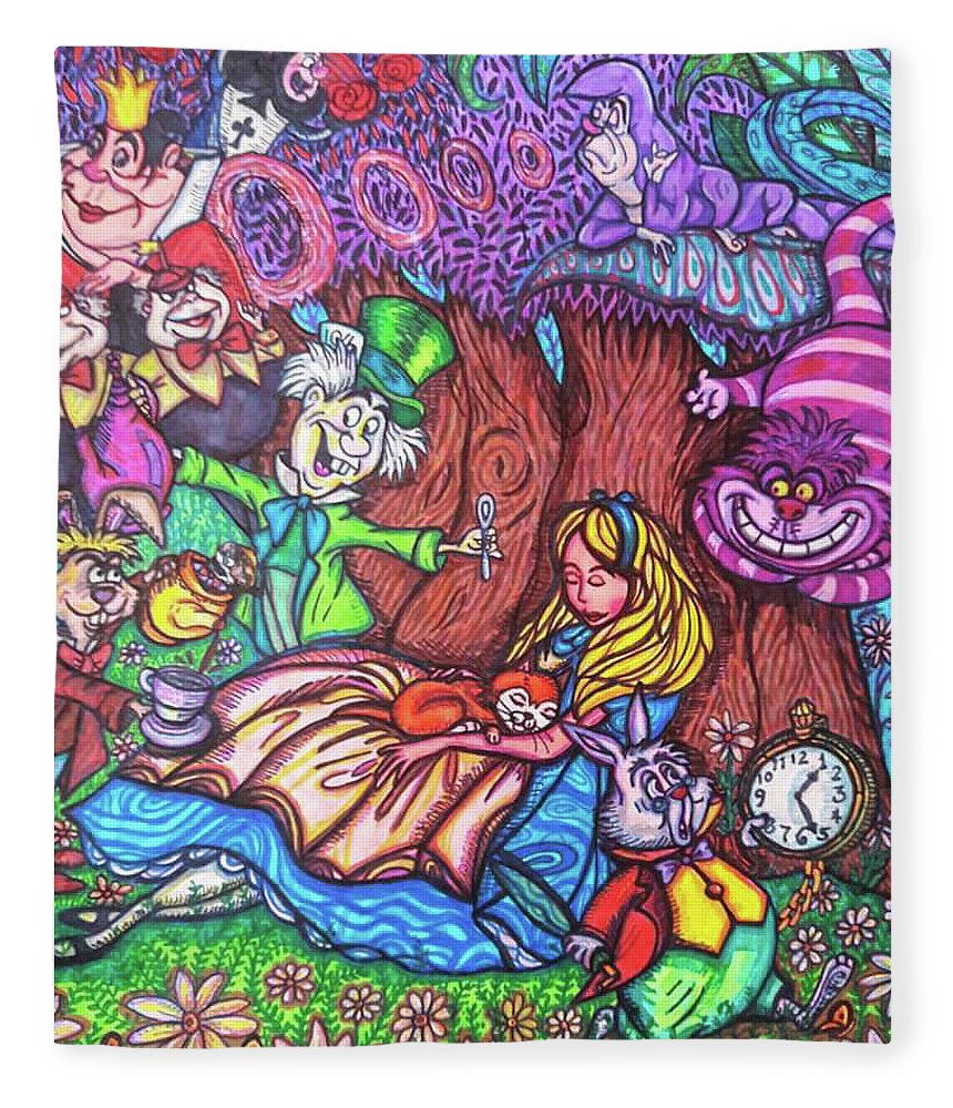 Sharpies Fleece Blanket featuring the drawing Alice In Wonderland by Janine Messenger