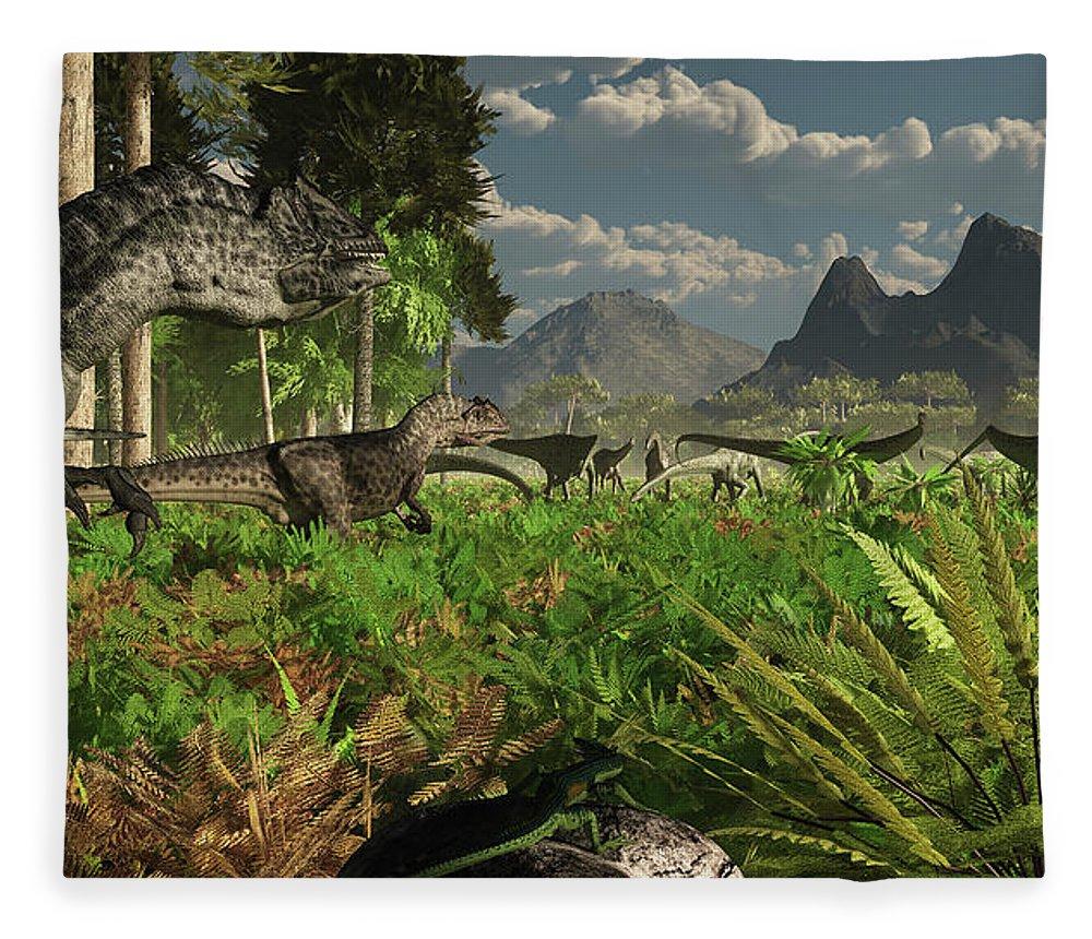 Toughness Fleece Blanket featuring the digital art Allosaurus And Diplodocus Dinosaurs by Arthur Dorety/stocktrek Images