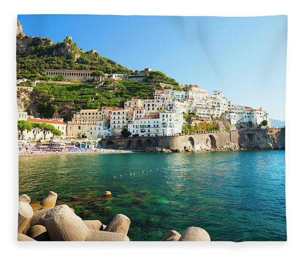 Tyrrhenian Sea Fleece Blanket featuring the photograph Amalfi Coast, Italy by Brzozowska