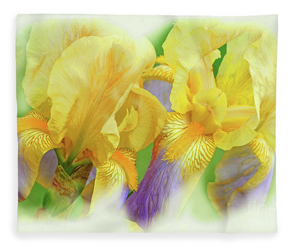 Iris Flowers Fleece Blanket featuring the photograph Amenti Yellow Iris Flowers by Regina Geoghan