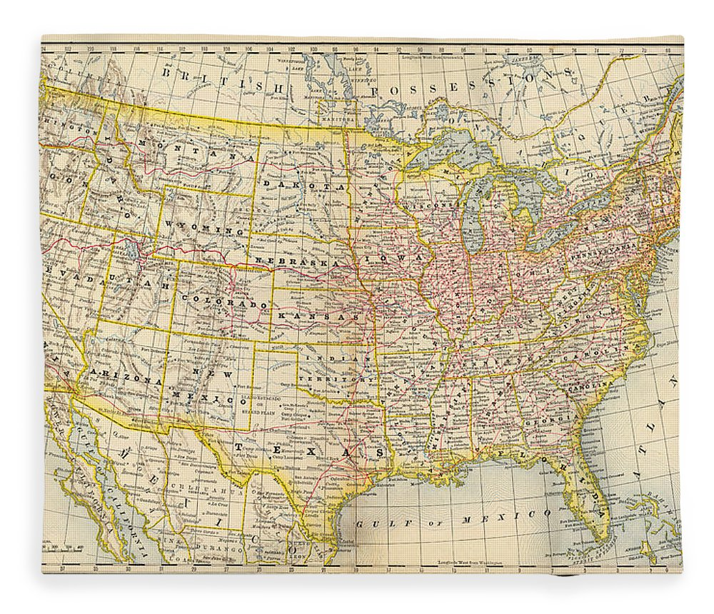 Engraving Fleece Blanket featuring the digital art America Old Map by Nicoolay