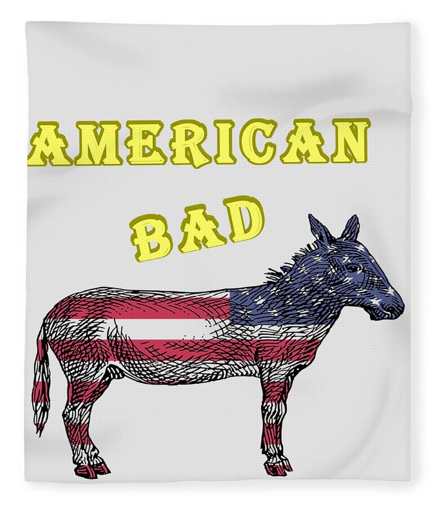 American Fleece Blanket featuring the digital art American Bad Ass by John Da Graca