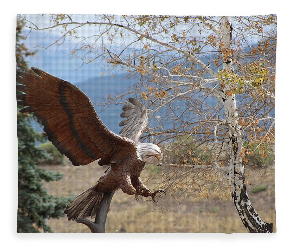 Eagle Fleece Blanket featuring the photograph American Eagle in Autumn by Colleen Cornelius