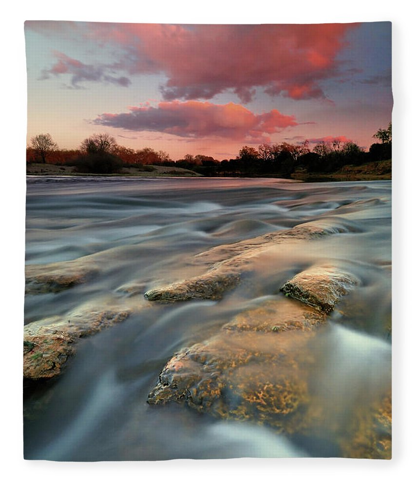 Scenics Fleece Blanket featuring the photograph American River Parkway At Sunset by David Kiene
