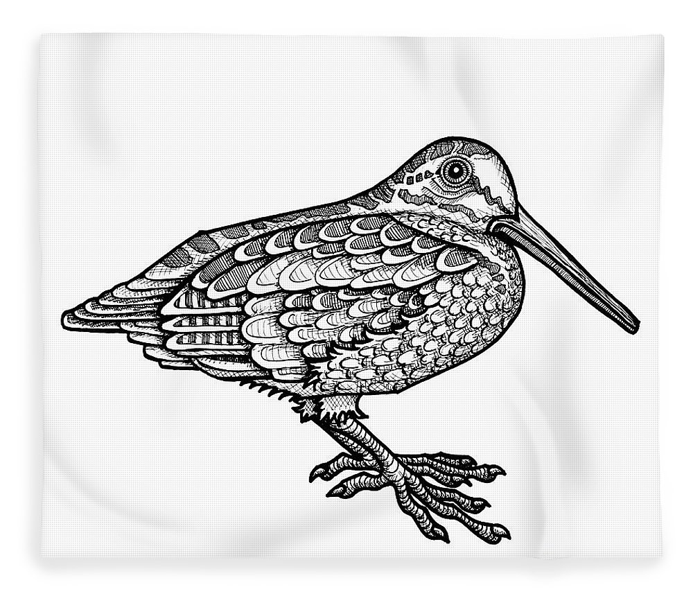 Animal Portrait Fleece Blanket featuring the drawing American Woodcock by Amy E Fraser