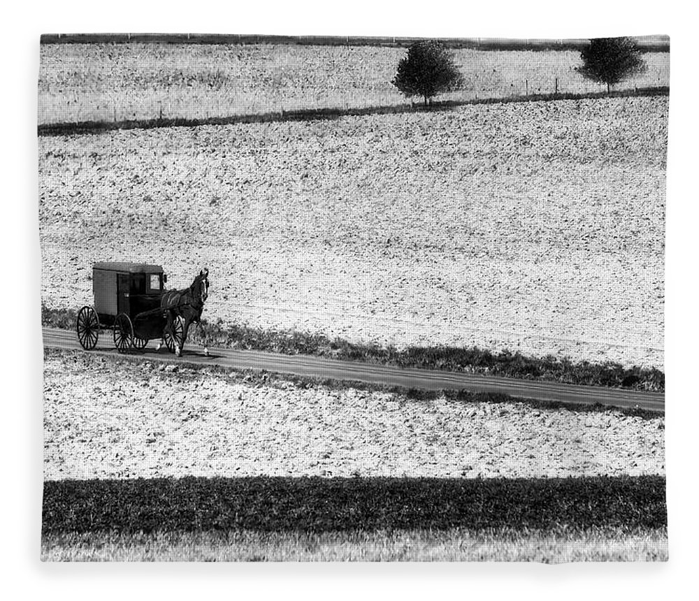 Amish Fleece Blanket featuring the photograph Amish Country Lancaster Pennsylvania Bw by Susan Candelario