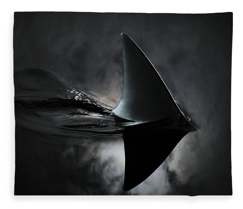 Risk Fleece Blanket featuring the photograph An Image Of A Shark Fin Against Moon by Jonathan Knowles