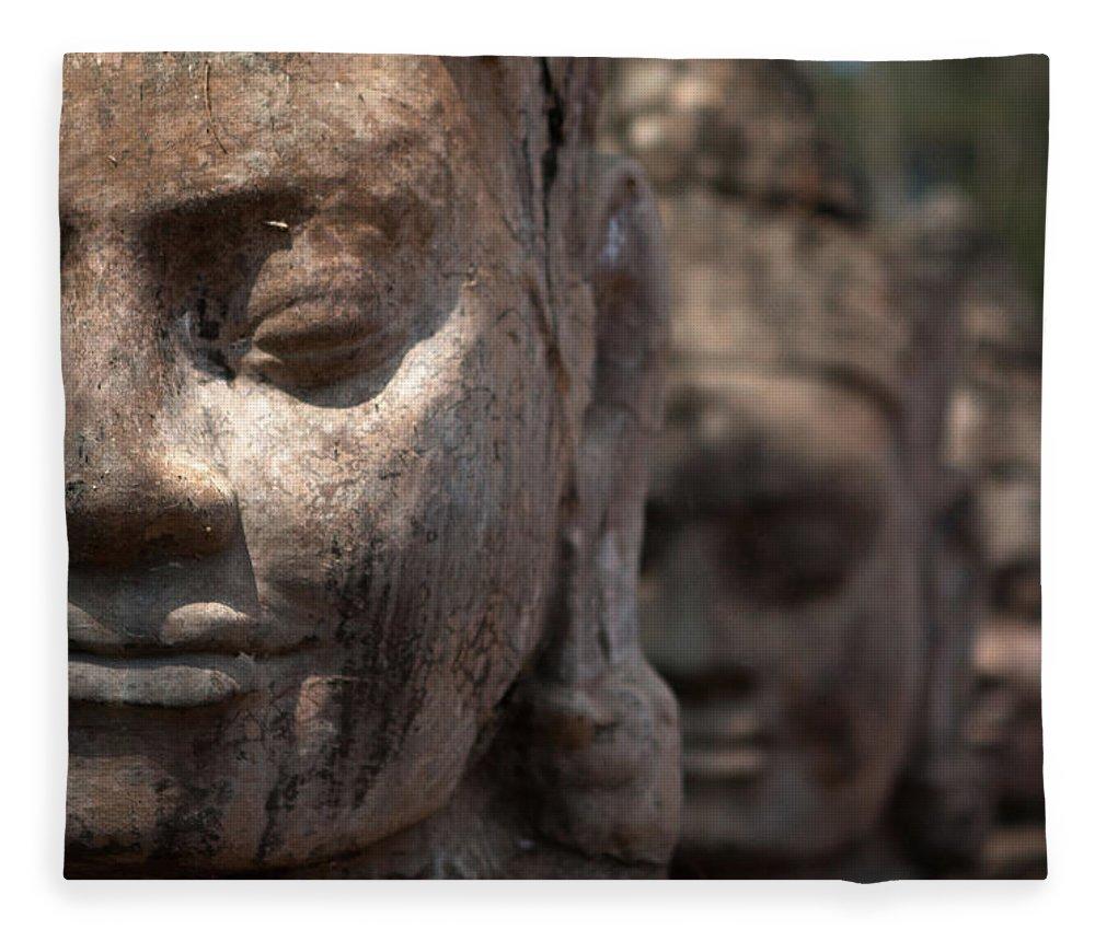 Art Fleece Blanket featuring the photograph Angkor Warriors by Romulo Rejon