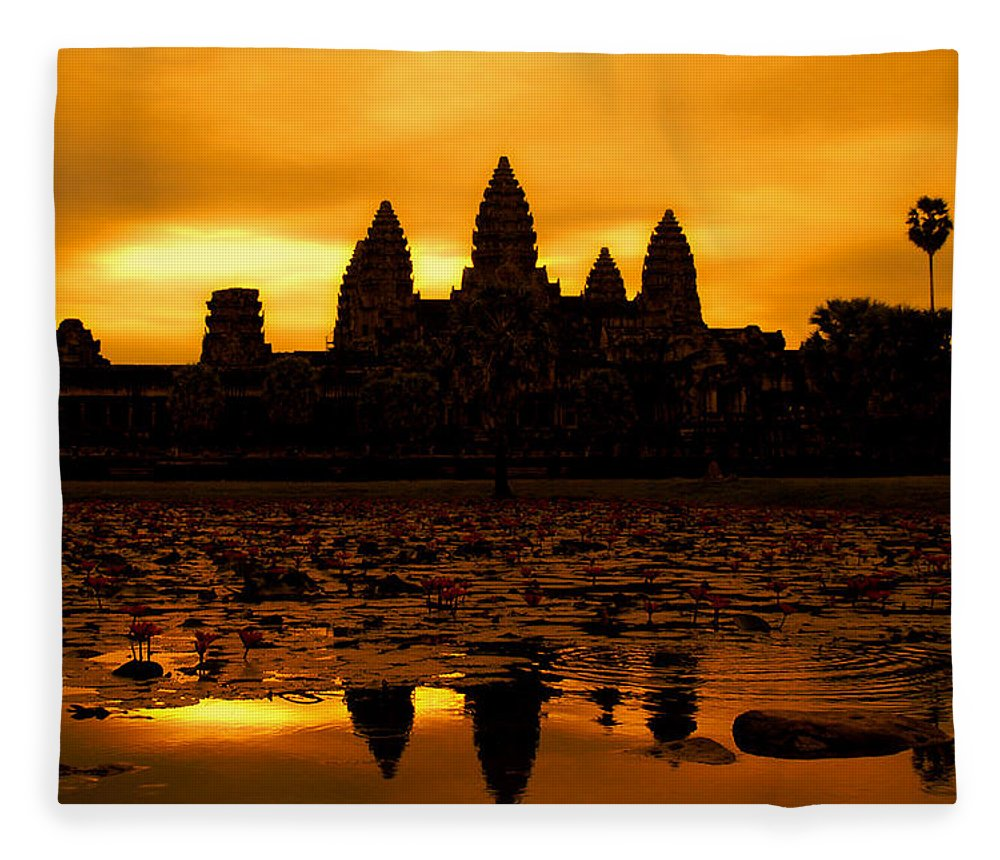 Cambodian Culture Fleece Blanket featuring the photograph Angkor Wat At Sunrise by David Lazar