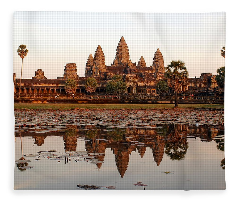 Tranquility Fleece Blanket featuring the photograph Angkor Wat - Siem Reap - Cambodia by By Lionel Arnould
