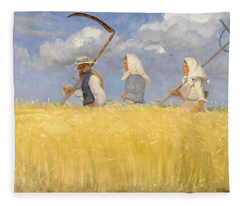 Harvest Fleece Blanket featuring the painting Anna Ancher - Harvesters by Celestial Images