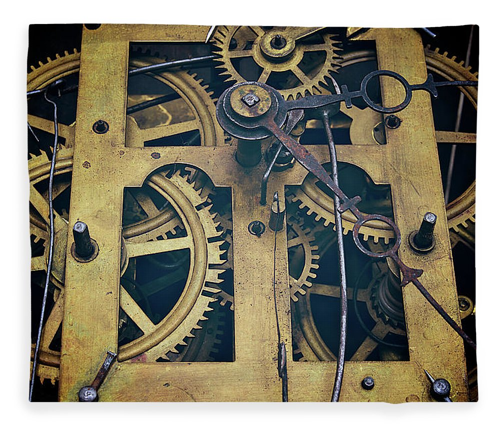 Gear Fleece Blanket featuring the photograph Antique Clock Gears, Cog And Parts by Melissa Ross