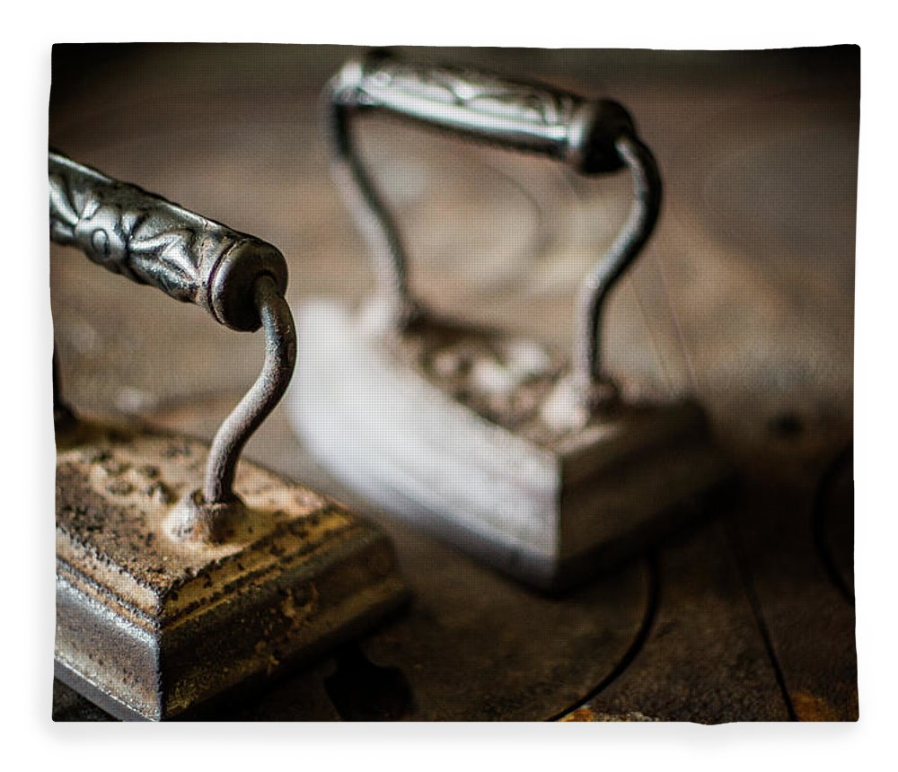 Two Objects Fleece Blanket featuring the photograph Antique Irons by Jimss