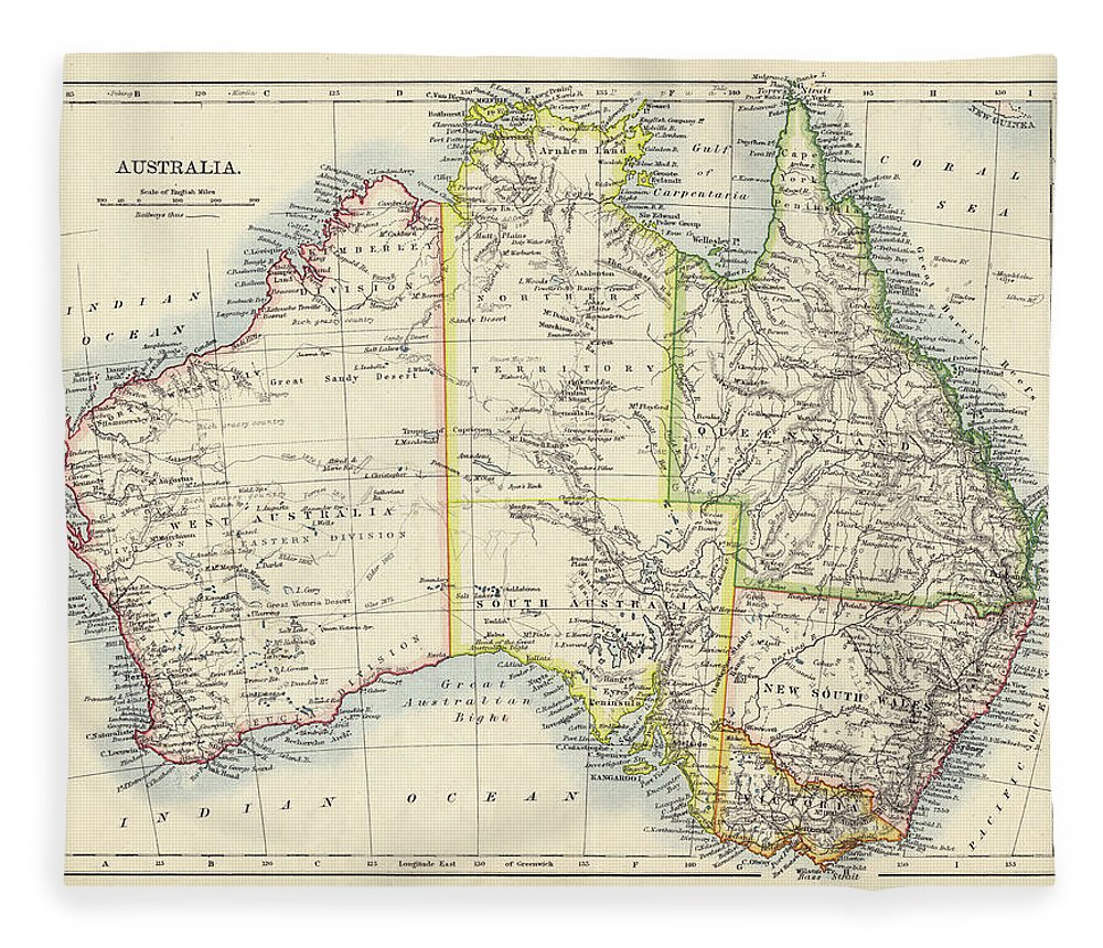 19th Century Style Fleece Blanket featuring the photograph Antique Map Of Australia by Nicholas Free