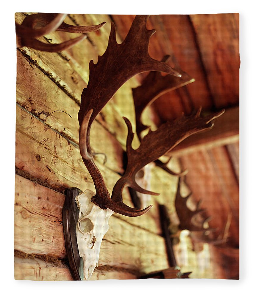 Horned Fleece Blanket featuring the photograph Antler Collection On Wall by Granefelt, Lena