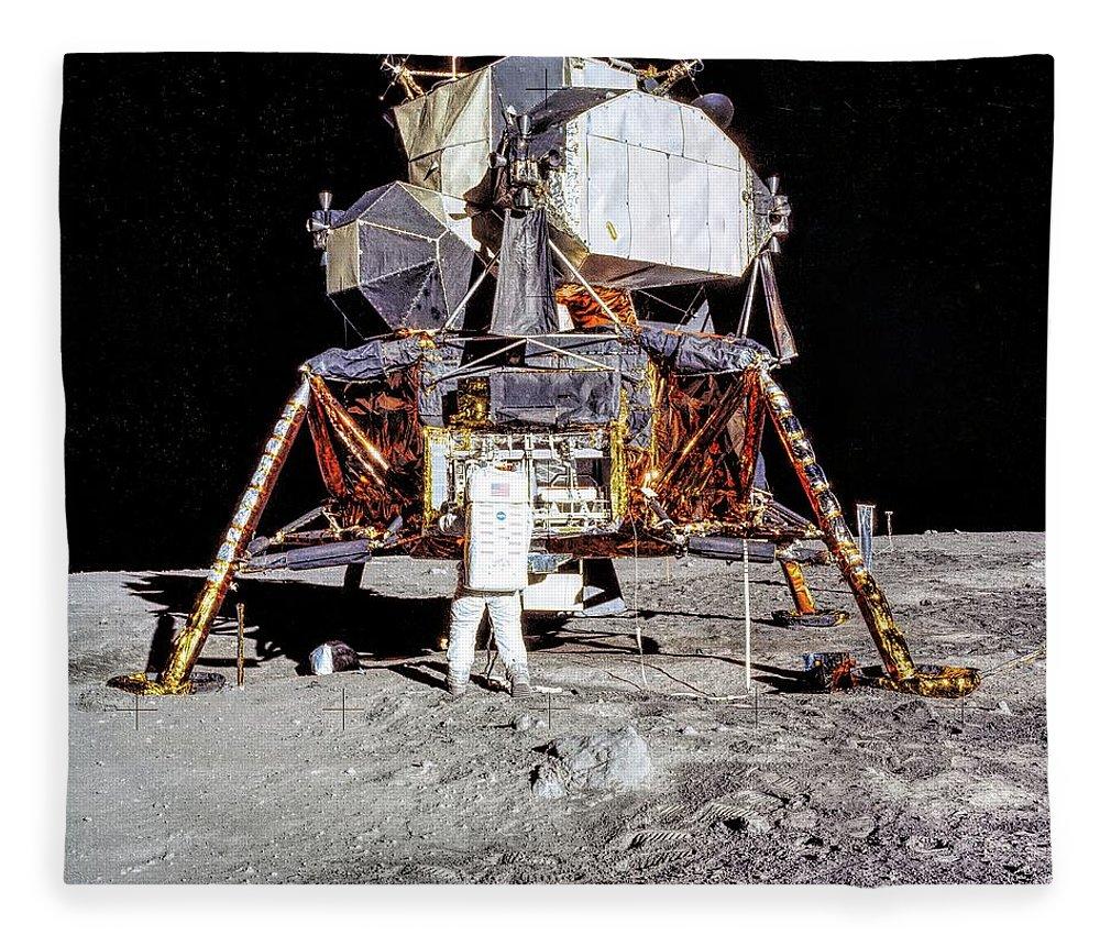 Apollo Fleece Blanket featuring the photograph Apollo 11 - Aldrin And The Lunar Module by Nasa