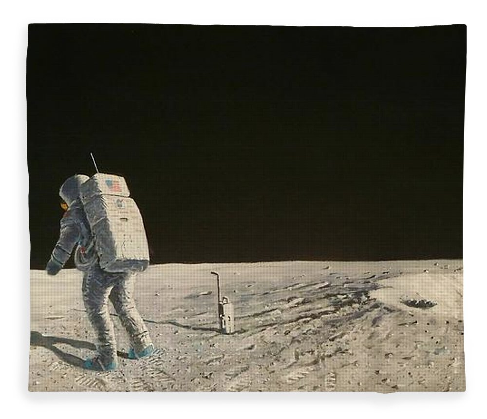 Neil Armstrong Fleece Blanket featuring the painting Apollo 11 Armstrong At East Crater by Mark Pestana