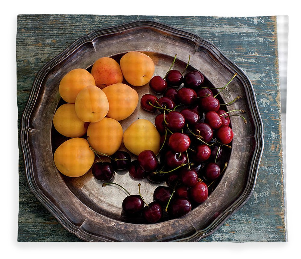 Tranquility Fleece Blanket featuring the photograph Apricots And Cherries On Silver Tray by Bjurling, Hans