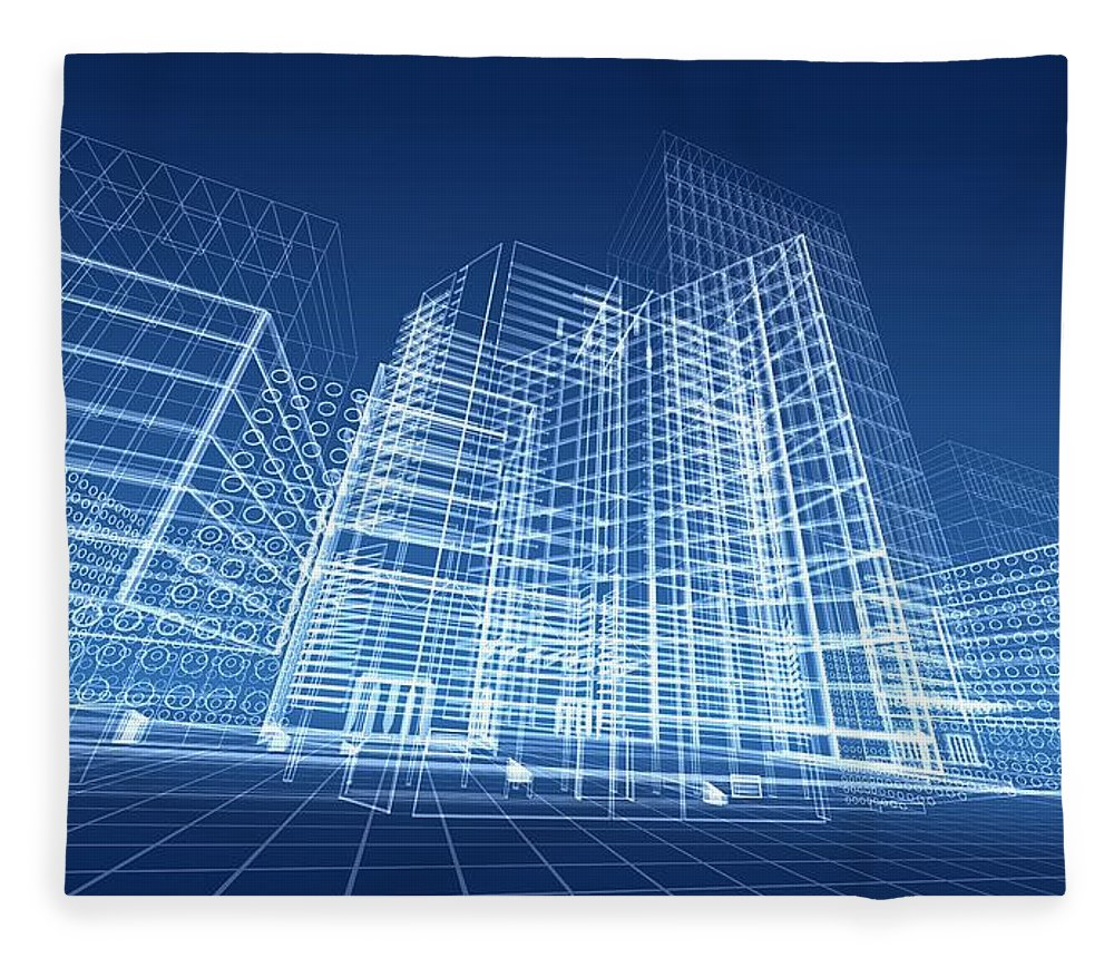Plan Fleece Blanket featuring the photograph Architectural Blueprint Designs For by Dinn