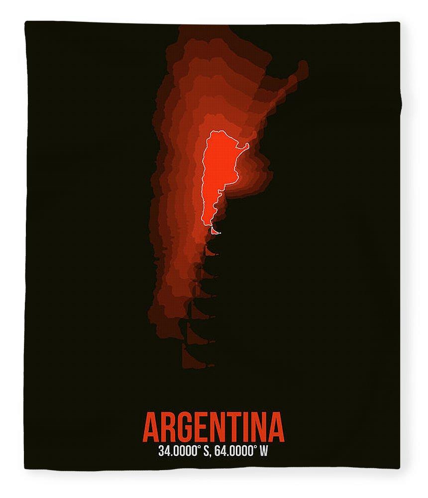 Argentina Fleece Blanket featuring the digital art Argentina Radiant Map 3 by Naxart Studio