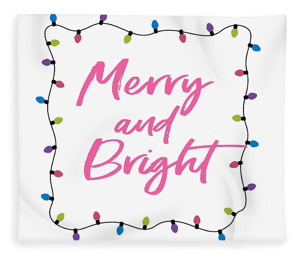 Merry Fleece Blanket featuring the digital art Merry And Bright -art By Linda Woods by Linda Woods