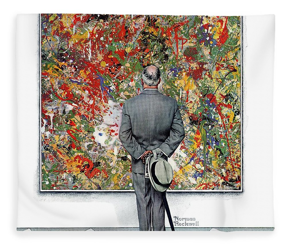 Art Fleece Blanket featuring the drawing Art Connoisseur by Norman Rockwell