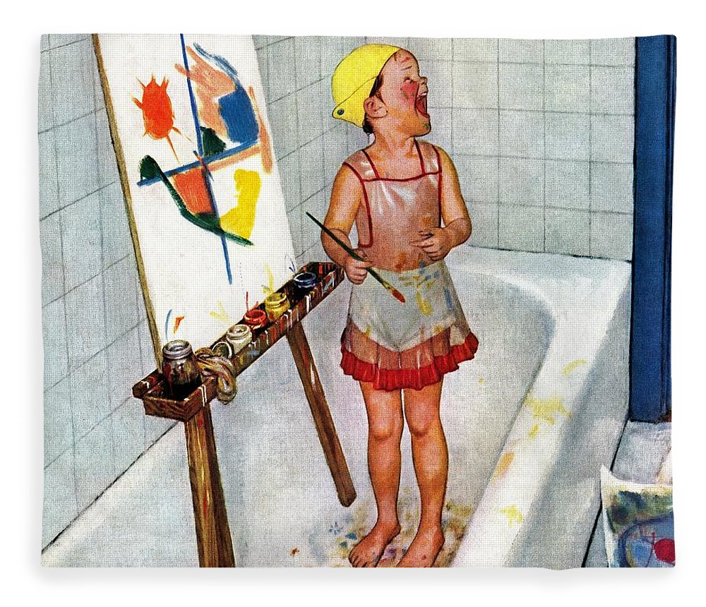 Bathtubs Fleece Blanket featuring the drawing Artist In The Bathtub by Jack Welch